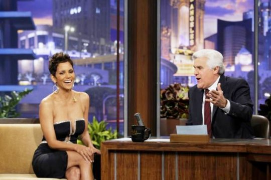 Halle Berry in Reem Acra on the Jay Leno Show