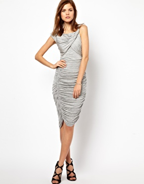 Ruched jersey dress in heather grey form Karen Millen