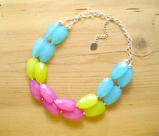 That's Mine! Turquoise Hot pink Neon Green statement necklace with a silver finish. (Can also be done in gold)